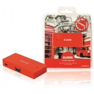 4 Poorten Hub USB 2.0 Rood