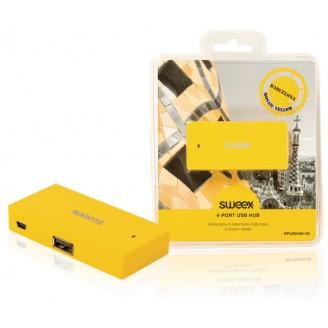 4 Poorten Hub USB 2.0 Geel