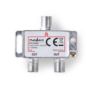 CATV F-Splitter | Max 4,2 dB demping | 5 - 1000 MHz | 2 uitgangen