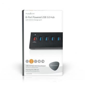 USB-Hub | 8-Poorts | QC3.0 / USB 3.2 Gen1 | Netvoeding / USB Gevoed | 5 Gbps | 8x USB