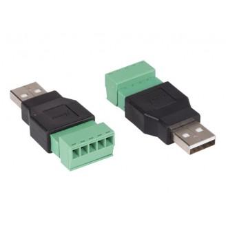 2 x USB A MANNELIJK NAAR 5-POLIGE SCHROEFAANSLUITING