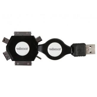 6-IN-1 ZELFOPROLLENDE USB 2.0-LAADKABEL - MANNELIJK/MANNELIJK - ZWART - 53 cm