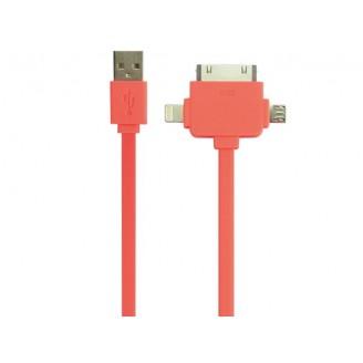 3-IN-1 USB 2.0-LAAD-/SYNCHRONISATIEKABEL - MANNELIJK/MANNELIJK - FLUORESCEREND ORANJE - 1 m